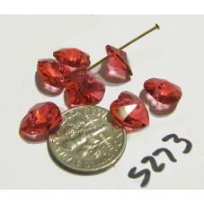 S273 Swarovski Heart Pendant INDIAN PINK 10mm