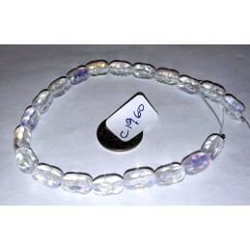 C1960 Czech Glass Textured Oval Beads CRYSTAL AB 10x6