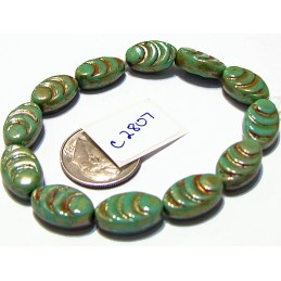 C2807 Czech Glass Carved Oval Cacoon Bead CELADON w/ MERCURY FINISH  13x8mm