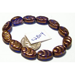 C2804 Czech Glass Carved Oval Cacoon Bead SAPPHIRE w/ BRONZE FINISH 13x8mm