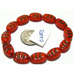 C2803 Czech Glass Carved Oval Cacoon Bead RED w/ BROWN WASH  13x8mm