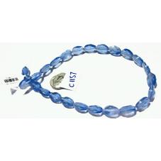 C1157 Czech Glass Faceted Oval Bead BLUE TRANSPARENT  8x12mm