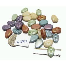C1847 Czech Glass Tulip 2 HOLE Bead  MIXED LUSTER  10x8mm