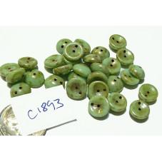 C1893  Czech Glass 2-hole Piggy Bead MINT PICASSO 8mm