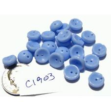 C1903  Czech Glass 2-hole Piggy Bead ALICE BLUE 8mm