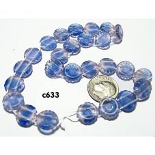 C633 Czech Glass 2 Hole Puffed Disk BLUE PINK 12mm