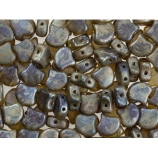 C4474 Czech Glass Matubo 2-hole GINKO Bead TANZANITE REMBRANDT  7.5mm