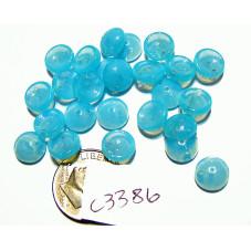 C3386  Czech Glass 2-hole Piggy Bead MILKY BLUE  8mm