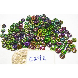 C2411 Czech Glass O Ring Bead  MAGIC ORCHID 3mm