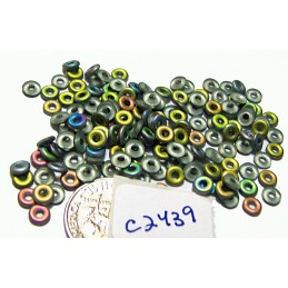 C2439 Czech Glass O Ring Bead Bead MATTE PERIDOT VITRAIL 3mm