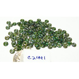 C2441 Czech Glass O Ring Bead Bead EMERALD CELSIAN 3mm
