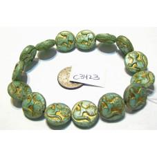 C3423 Czech Glass Sitting Kitty Cat Coin Bead SAGE GREEN 14mm