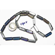 C924 Czech Glass Rectangle BERMUDA BLUE 5x15mm