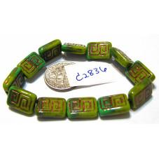 C2836 Czech Glass Greek Key Rectangle GASPEITE GREEN w/ BRONZE  9x13mm