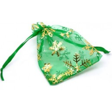 Organza Gift Bags Snowflake GREEN 9x12cm