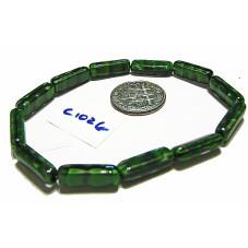 C1026 Czech Glass Tube Bead GREEN 15mm