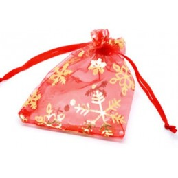 Organza Gift Bags Snowflake RED 9x12cm
