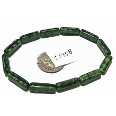 C1758 Czech Glass Bead Rectangle GREEN MOTTLED 15mm