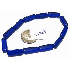 C1763 Czech Glass Bead Rectangle COBALT  15mm