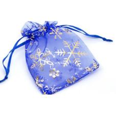 Organza Gift Bags Snowflake BLUE 9x12cm