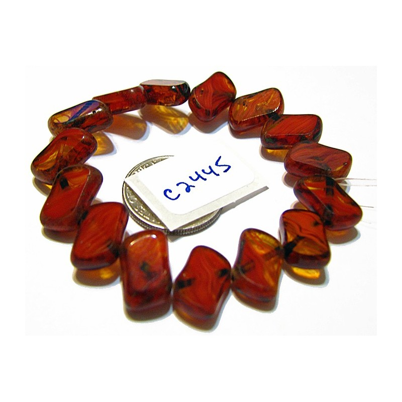 C2445 Czech Glass Flat Rectangle Diagonal Drilled RUSTY RED HURRICANE PICASSO 11x7mm