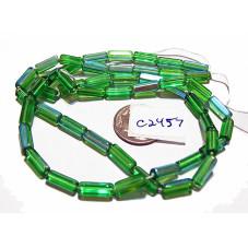 C2457 Czech Glass  Rectangle Bead GREEN AB 10mm