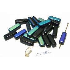 C1382 Czech Glass Square Cylinder MATTE JET AB  16x5mm