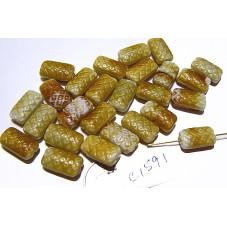 C1591 Czech Glass Flat Rectangle Bead Basketweave BROWNS 14mm