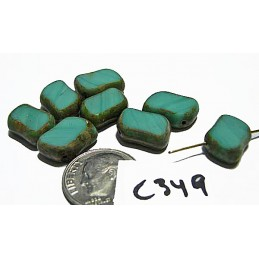 C349 Czech Glass Rectangle TURQUOISE PICASSO Diagonal Drilled 13x15mm