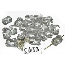 C633 Czech Glass Twisted Rectangle CLEAR 14.5x9.5mm