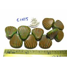 C1075 Czech Glass Seashell GREEN/TAN 15mm