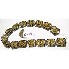 C4493 Czech Glass Flat Turtle Bead CLEAR w/ BROWN STRIPE  18x13mm
