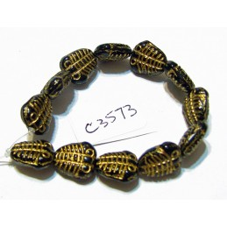 C3573 Czech Glass Trilobite Fossil Bead BLACK w/ GOLD WASH 10x13mm