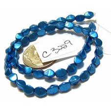 C3229 Czech Glass Pinch Beads METALLIC NEBULAS BLUE  3x5mm