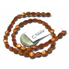 C3226 Czech Glass Pinch Beads METALLIC  RUSSET ORANGE  3x5mm