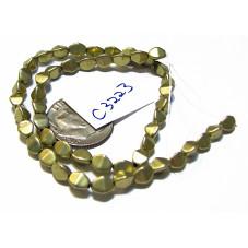 C3223 Czech Glass Pinch Beads METALLIC LIMELIGHT  3x5mm