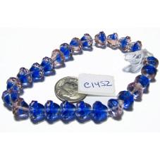 C1452 Czech Glass Faceted Bell Bead BLUE & PINK TRANSPARENT 8x10mm