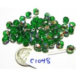 C1048 Czech Glass Faceted Beads KELLY VITRAIL 6mm