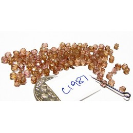 C1987 Czech Glass Faceted Round Beads ROSE AB  3mm