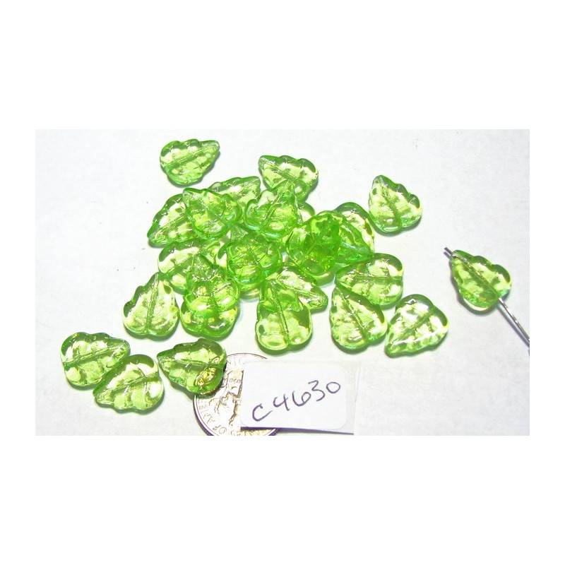 C4630 Czech Glass Birch Leaf PERIDOT 12x10mm