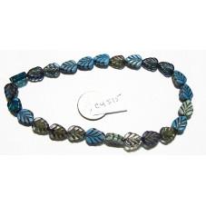 C4515 Czech Glass Leaf Bead BLUE MIX 10x8mm