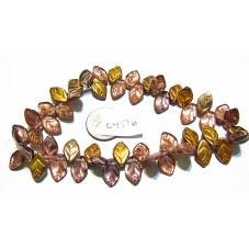 C4516 Czech Glass Leaf Bead METALLIC MIX 12x7mm