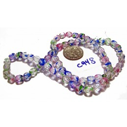 C948 Czech Glass Faceted Round MULTI COLOR 6mm