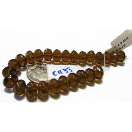 C1138 Czech Glass Faceted Squashed Round Beads DK BROWN TRANS 6x9mm