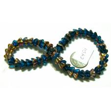 C4511 Czech Glass Bellflower Bead BLUE w/ VITRAIL  8x6mm