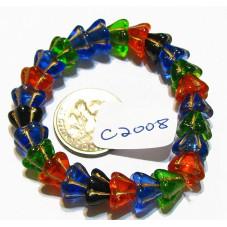 C2008 Czech Glass Bellflower Bead  COLOR MIX w/ GOLD 10x6mm