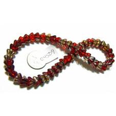 C4509 Czech Glass Bellflower Bead RED w/ METALLIC  8x6mm