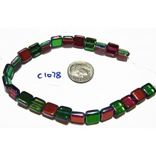 C1078 Czech Glass Tile Bead RED/GREEN MEREA 9mm
