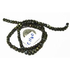 C1160 Czech Glass Cube BROWN IRIS  4mm