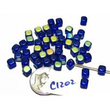 C1202 Czech Glass Cube COBALT AB 6mm